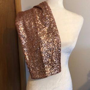 M Rose Gold Pencil sequin Skirt